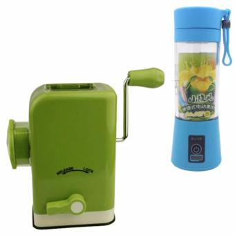 Multifunctional Meat Grinder (Chartreuse) with free HM-03 Portableand Rechargeable Battery Juice Blender 380ml (Sky Blue)