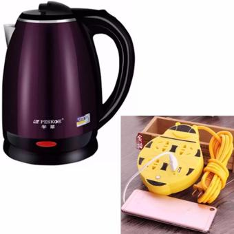 Peskoe electric kettle 2L stainless steel double anti hot pot(Purple) With Extension Wire Cord with USB Socket 180CM Length(Yellow) Price Philippines