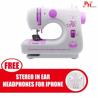 Phstandard JYSM-605 Upgraded version 12-Stitch Expert SewingMachine with Expansion Board (White/Purple) with free Stereo In-EarHeadphone for Apple iPhone/All Smartphone (Color May Vary)