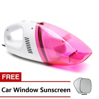 Portable Car Vacuum (Pink) with Free Car Window Sun Screen