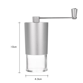 Portable Manual Aluminium Coffee Bean Grinder Mill with Brush andSpoon - 3
