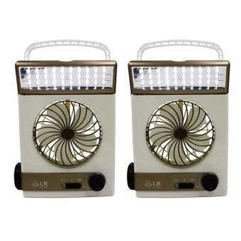 Rechargeable Light Fan Solar Energy 30 LED With Flashlight Set of 2