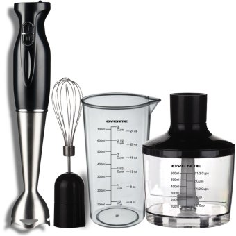 Robust Stainless Steel Immersion Hand Blender with Beaker, Whisk Attachment and Food Chopper Black - Intl