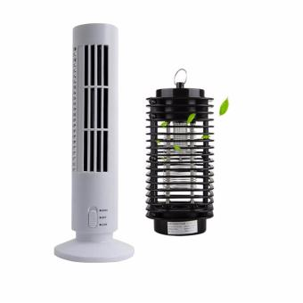 Rukia High Quality 2 Speed USB Tower Fan (White) with Electric UVMosquito Killer/Zapper Bug Fly Wasp Trap Pest