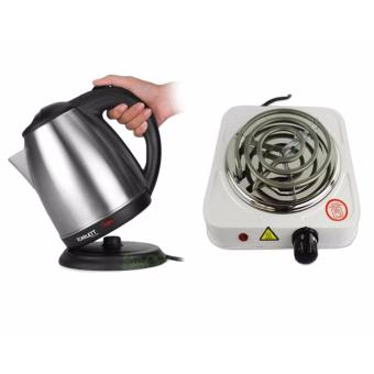Rukia Scarlett SC-1617A Electric Kettle 2 Liter with 1000W ElectricCooker Single Hot Plate (White)-1
