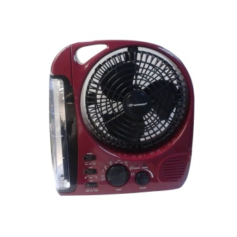 """Samwon SW-283B 8"""" Rechargeable Emergency Fan (Maroon)"""
