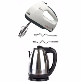 Scarlett HE-133 Professional Electric Whisks Hand Mixer (White)withSinba Wireless Electrical Kettle