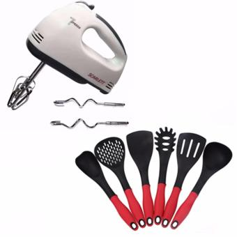 Scarlett Professional Electric Whisks Hand Mixer (White) With Free Korea 6pcs Cooking Utensil Heat Resistant Ladle (Red/Black)
