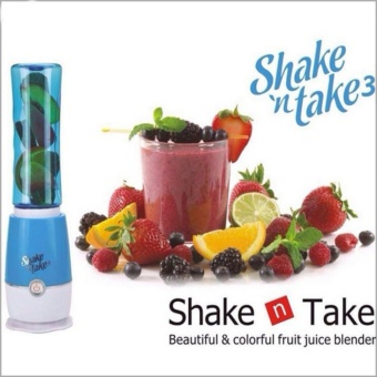 Shake N Take 3 Fruit Juice Smoothie Blender with 2 Sport Bottles Juicer(BULE)