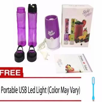 Shake N Take 3 Tumbler and Blender 16oz (Purple) With Free PortableLED USB Light (Color May Vary)