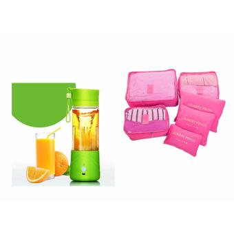 SNS Rechargeable USB Electric Fruit and Vegetable Blender CupJuicer Extractor 380mL (Green) With 6 in 1 Waterproof TravelOrganizer Toiletries Pouch Bags (Pink)