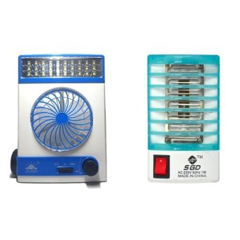 Solar Power 3-in-1 Portable Wind Speed Adjustable Cooling Fan andFlashlight with Electron Go Out Mosquito Mini Night Lamp Bundle