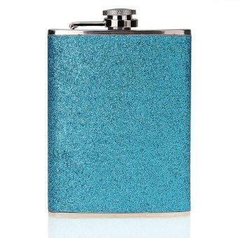 Stainless Steel Alcohol Drink Liquor Whisky Hip Flask 8oz Blue
