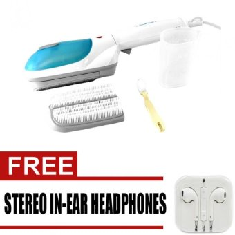 Tobi Travel Steamer (Blue) with Free Stereo In-Ear Headphones foriPhone (White)