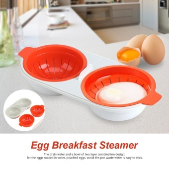 Two Egg Poacher Cup Microwave Cooker Sandwich Breakfast Steamer Red+ White - intl