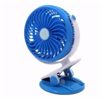USB Mini Clip & Table Fan Rechargeable Desktop Portable Electric Fan (Blue)