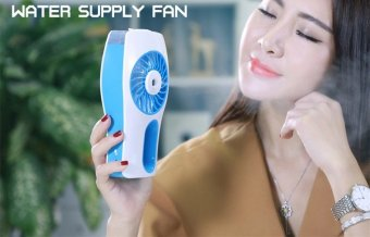 USB Mini humidifier handheld portable cooling air conditioningrechargeable mini spray air conditioner fan (Blue) - 3