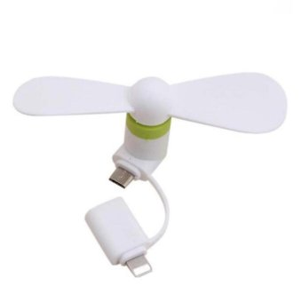VROOM 2 in 1 Portable Mini Micro USB Lightning Mobile phone Fan foriPhone Android - intl