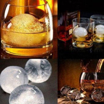 Whiskey Silicone Ice Cube Ball Maker Mold Sphere Mould Party TrayRound Bar (Orange) - intl