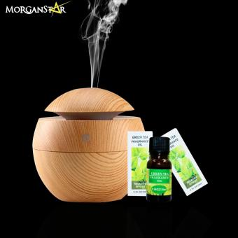 Wooden USB LED Ultrasonic Aroma Humidifier Oil DiffuserAromatherapy Purifier Light Wood with 3pcs Fragrance Oil (GreenTea) Price Philippines