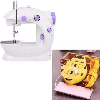 XZY Double Thread Sewing Machine with Foot Pedal and Adapter (White/Lavender) With Extension Wire Cord with USB Socket 180cm (Yellow)