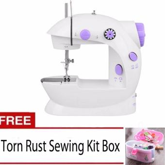 XZY- Double Thread Sewing Machine with Foot Pedal andAdapter(White-Lavender) with Free Thorn Rust Sewing Kit Box NeedleThreads (Color May Vary) Price Philippines