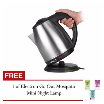 Zea Scarlett Wireless Electric Kettle 1.8L (Silver) with FREEElectron Go Out Mosquito Mini Night Lamp