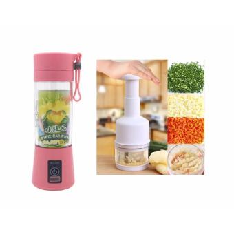 Zea Store Rechargeable USB Electric Fruit and Vegetable Blender CupJuicer Extractor 380mL (Pink) with Kitchen Pressing FoodChopper Cutter Slicer Peeler Dicer Vegetable Onion Garlic (White)