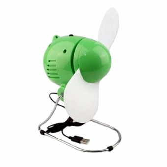 Zover Mini Portable 360 Degree Fan Rotation Plug and Play DeviceUSB and Battery Powered Low Noise Desktop Fan Soft Blades (Green)
