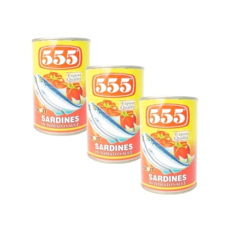 555 Tuna Quality Hot Sardines in Tomato Sauce Net wt. 425g 15oz 3's(Yellow) 520007 W44