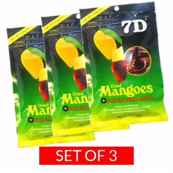 7D Dried Mangoes Dark Chocolate Enrobed 80g Set of 3