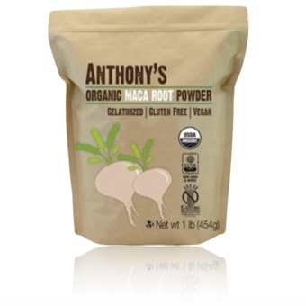 Anthony's Organic Maca Root Powder Gelatinized (454g) with FREERubber Bracelet LED Digital Wrist Watch (Color may vary)