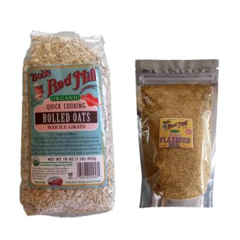 Bob's Red Mill Organic Quick Cooking Rolled Oats 453g with Bob's Red Mill Organic Golden Flaxseed Meal 100g