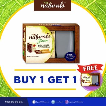 BUY 1 TAKE 1 Naturals Stevia 100% Natural Zero Calorie Sweetener40x 2g Sticks with 2 FREE Luminarc Glasses