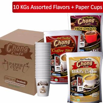 C10C-COM-1 Chong Coffee 3 in 1 (4 Kilos), Hot Choco (4 Kilos) andWhite Coffee (2 Kilos) Plus Paper Cups - Chong Cafe Phils