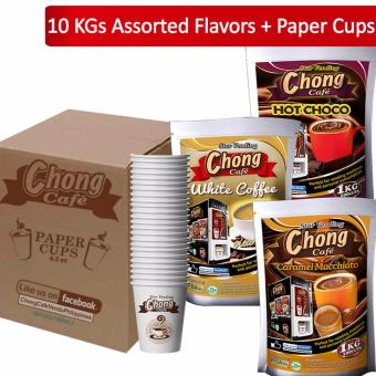 C10C-COM-4 Chong White Coffee (4 Kilos), Hot Choco (4 Kilos) andCaramel Macchiato (2 Kilos) Plus 1000 Paper Cups - Chong Cafe Phils