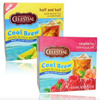 Celestial Seasonings, Half and Half Cool Brew Iced Black Tea &Lemonade 40 Tea Bags 3.0 oz (85 g) & Celestial Seasonings IcedBlack Tea Raspberry 40 Tea Bags 3.6 oz (102 g)