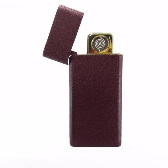 Electric Cigarette Lighter Metal USB Rechargeable ( BROWN )