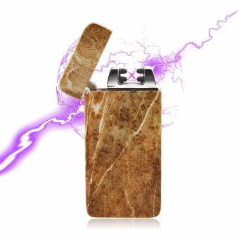 Electronic echargeable Windproof Double Arc Lighter Wood-like (DarkBrown)