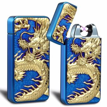 Electronic Rechargeable Windproof Double Arc Lighter Classy ChineseDragon (Blue)