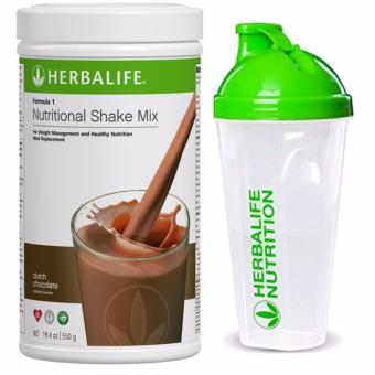 Herbalife F1 Nutritional Shake Dutch Choco 550g Canister w/ Shaker Cup