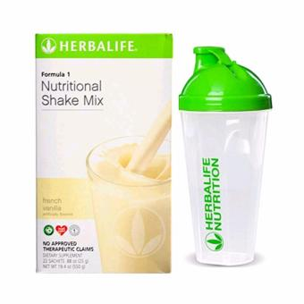 Herbalife F1 Nutritional Shake French Vanilla 22 Sachets w/ Shaker Cup