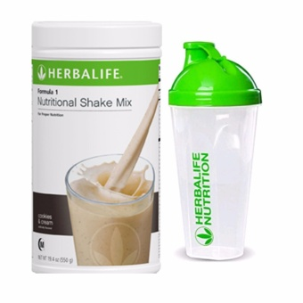 Herbalife Nutritional Shake Cookies and Cream Canister with Shaker Cup