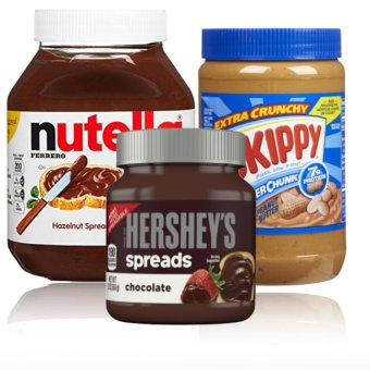 Harga Nutella Hazelnut Spread with Cocoa 950g And Skippy Peanut Butter (Crunchy) 1.36kg And Hershey's Chocolate Spread 13oz