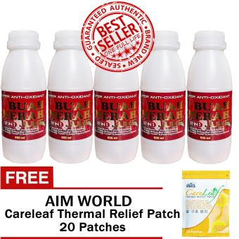 Harga Super Antioxidant Buah Merah 12 in 1 Powder Juice 500ml (5 Bottles) with FREE Aim Global Careleaf Thermal Relief Patch