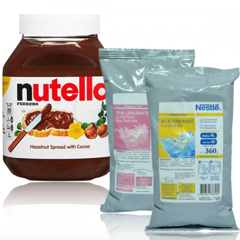 Harga Nutella Hazelnut Spread with Cocoa 950g And Nestle Blue Lemonade & Lychee Pink Lemonade Fruit Drink Mix