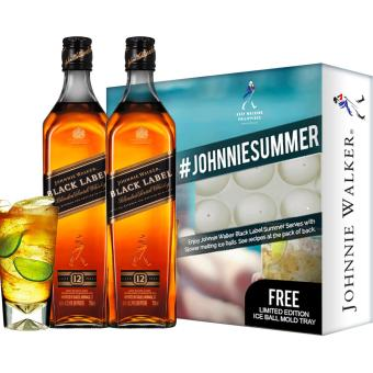 Johnnie Walker Black Label 1L x 2 bottles with FREE Limited EditionIce Ball Mold Tray