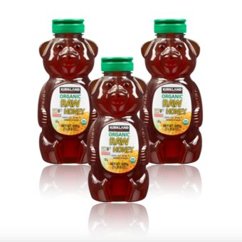 Kirkland Signature Organic Raw Honey Bear 680g Set of 3 with free Silicone Digital Watch ( color may vary)