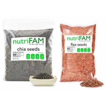 Set - Nutrifam USA Chia Seeds 500g & Nutrifam USA Whole FlaxSeed 500g