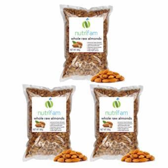 Set of 3 - Nutrifam US Whole Raw Almonds 500g